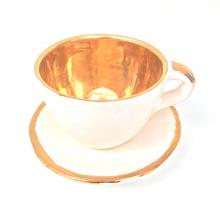 'Auksinis' espresso puodelis su lėkštele
